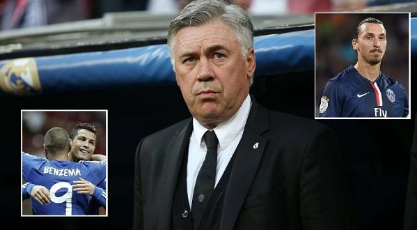 Ronaldo, Benzema và Ibrahimovich là 3 cái tên mà HLV Ancelotti muốn mang sang nước Đức