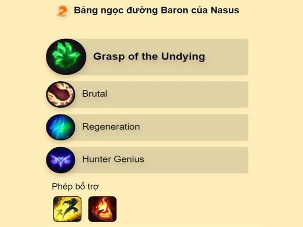 Thông tin Bảng Ngọc Nasus